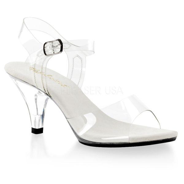 Durchsichtige klassische Sandalette mit Riemchen BELLE-308